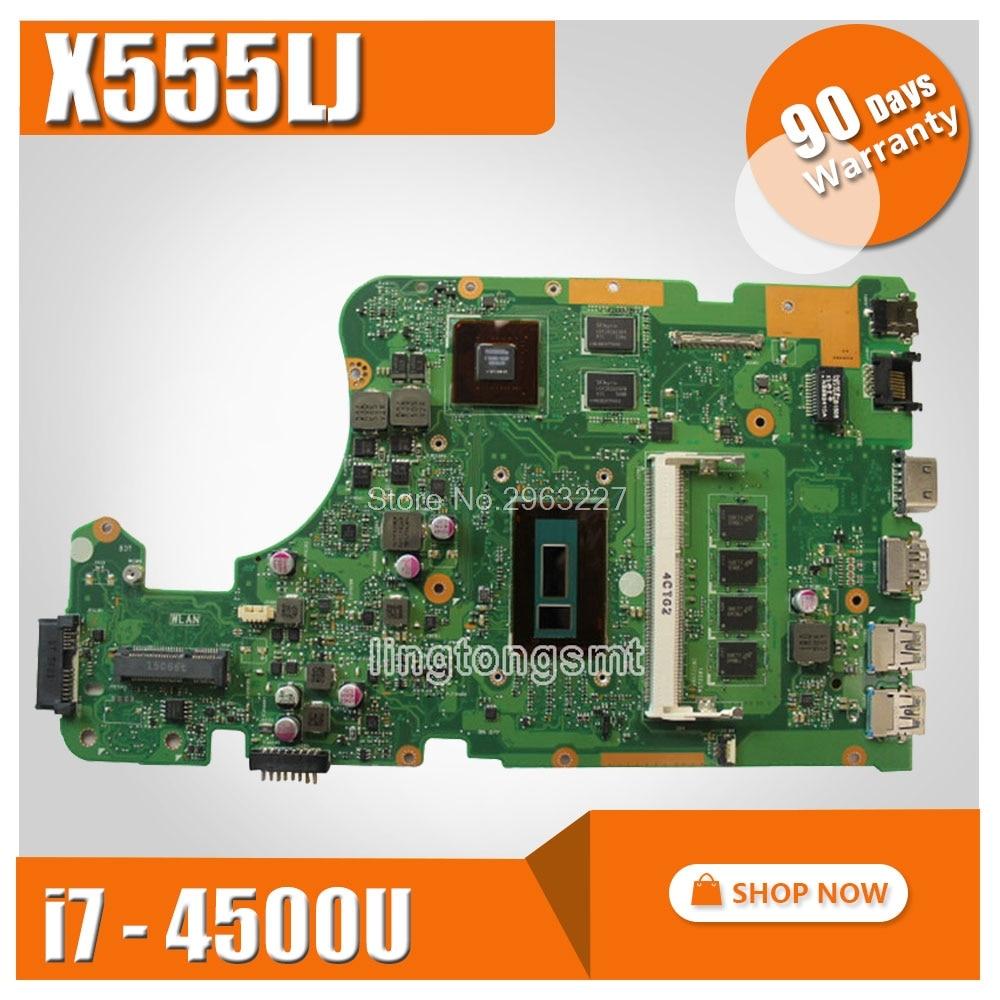 FOR ASUS X555L X555LD X555LDB X555LJ X555LP X555LF laptop MAIN BOARD motherboard 4G memory I7-4500 GT820M 2G Original board цена