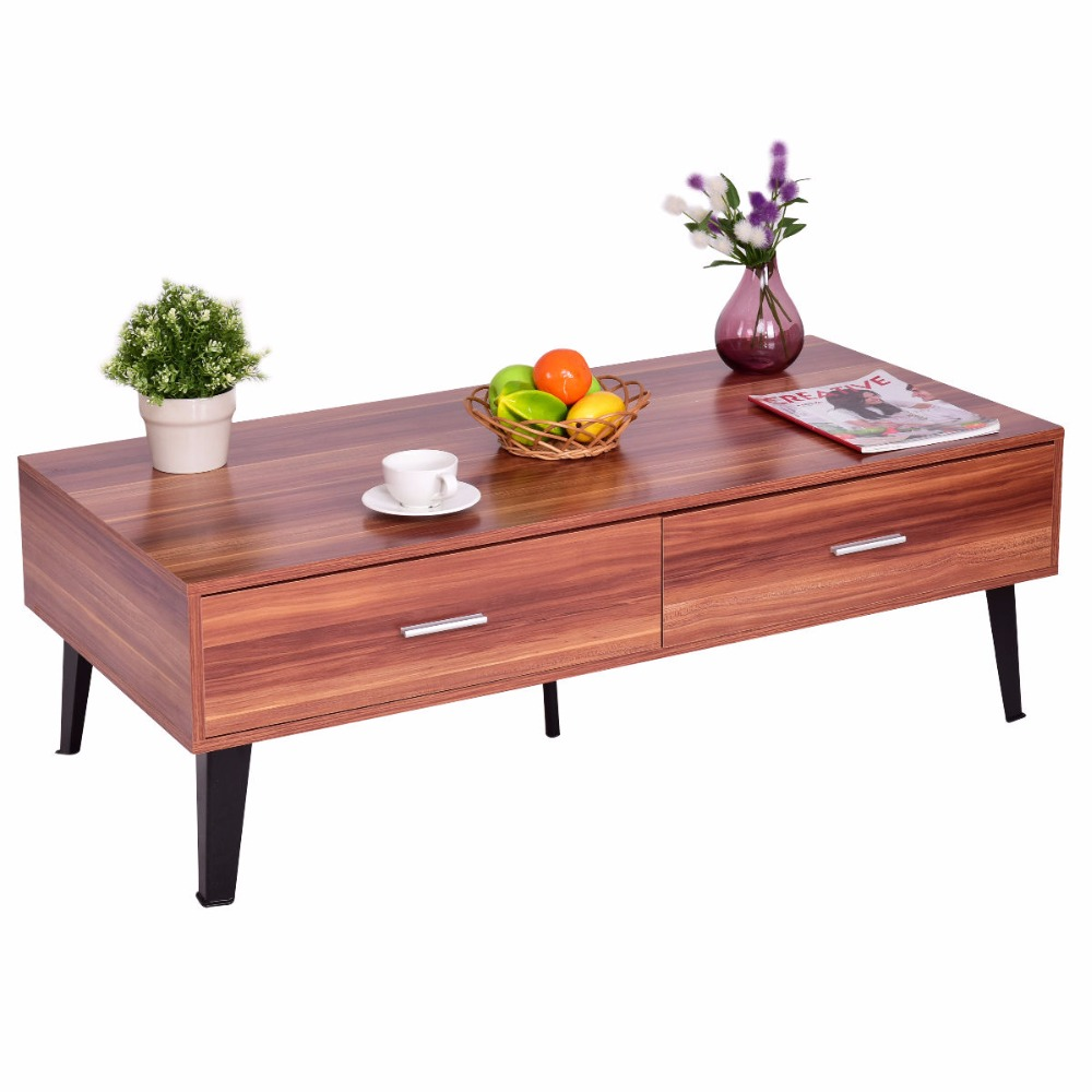 Goplus Coffee Table Wood Storage Drawers with Steel Legs Living Room Furniture Modern Simple Desk Home Coffee Tea Table HW55397 solid pine wood folding round table 90cm natural cherry finish living room furniture modern large low round coffee table design