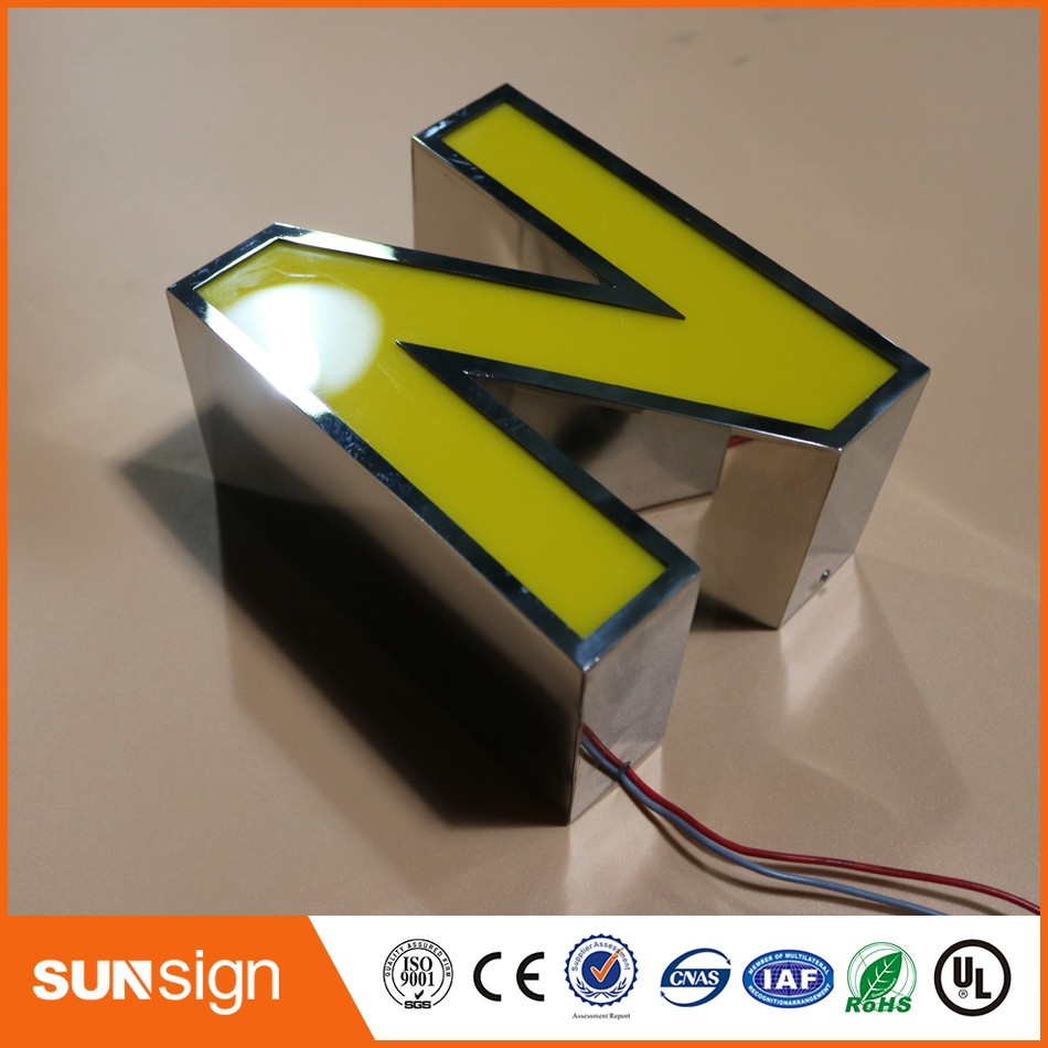 Chain Stores Advertising Mirror Stainless Steel Finish Acrylic LED Letter