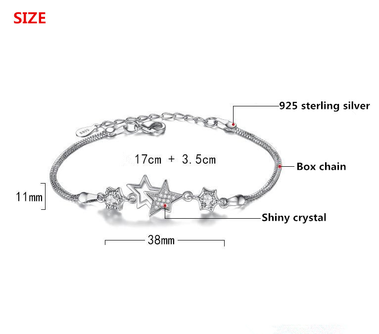 100 925 sterling silver fashion little star shiny crystal ladies bracelets jewelry wholesale women female no fade cheap gift in Charm Bracelets from Jewelry Accessories