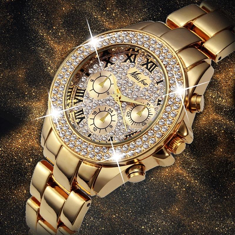 MISSFOX Frauen Uhren Luxus Uhr Frauen Mode 2019 Gefälschte Chronograph Römischen Ziffern 18K Gold Damen Uhren Quarz Armbanduhr