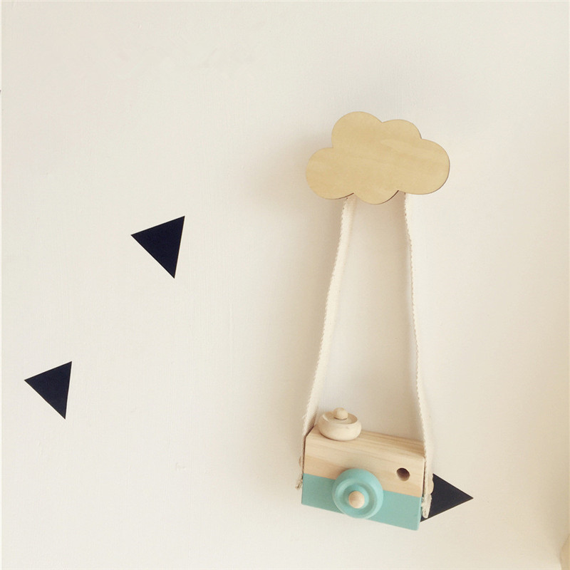 Solid Wood Hook Wall Clothes Hooks Wooden Anchor Kids Room Wall Sticker Decoration Clothing Hanger Children Birthday Gift
