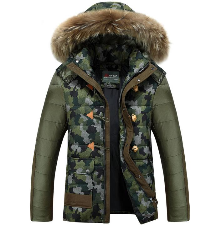 Autumn and winter colorant match removable cap camouflage down coat men warm outerwear thicken 1 1 clothing M – 3XL