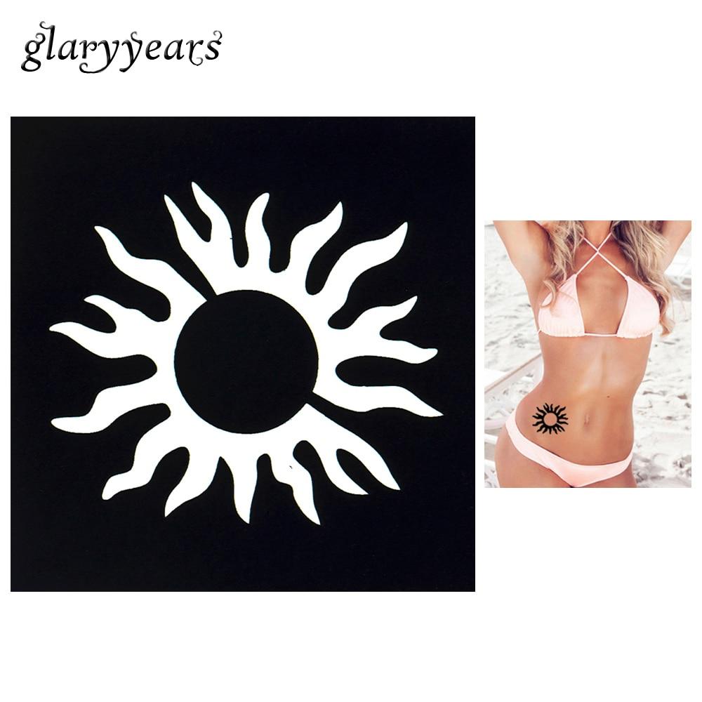 1 PC Tattoo Stencil Body Wrist Art Airbrush Painting Sun Flame Small Henna Indian Stencil Design Hollow Tattoo Template Mold G65
