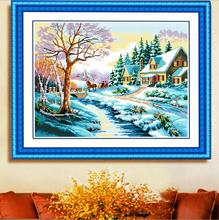 Needlework,DIY Cross stitch,Set For Embroidery kit,Scenic, Snow landscape,cottage, house,cross-Stitch,Sewing Kit