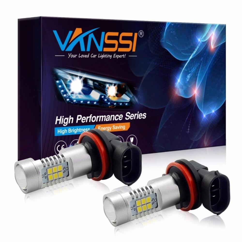 VANSSI 2 uds H8 H11 LED H10 9145 HB3 9005 HB4 9006 PSX24W 2504 5202 H16 LED bombillas de luz antiniebla lámpara 1200LM 6000K blanco DC12-24V