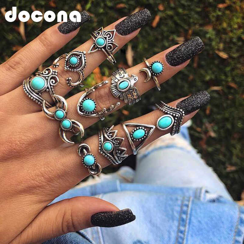 docona Silver Deer Bird Flower Rings Set for Women Girl Geometric Green Rhinestone Knuckle Midi Rings Set 11pcs/1set 4189