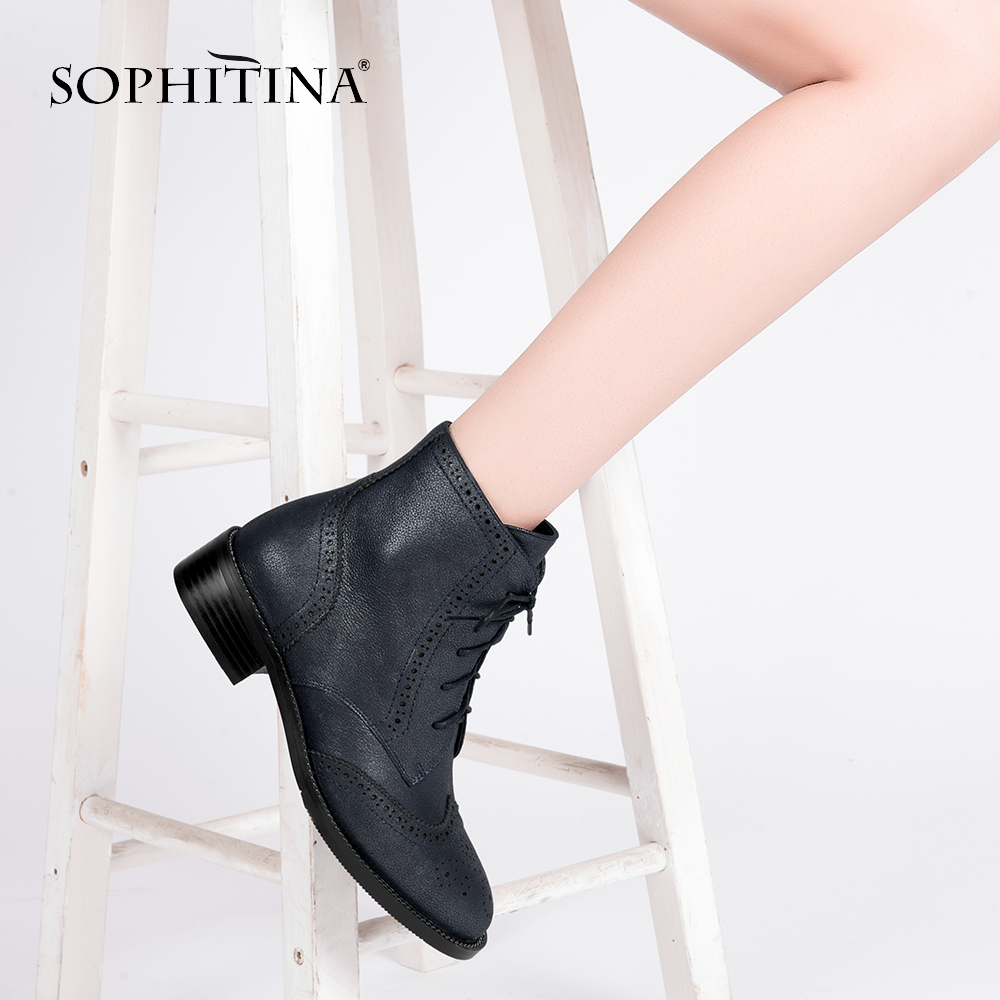 SOPHITINA Unique Handmade Genuine Leather Woman Boots Retro Black Square Heels Warm Winter Shoes Warm Ankle
