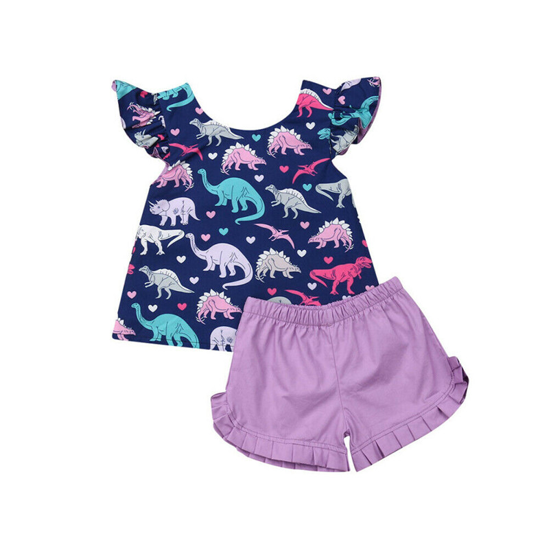 Novelty Summer Kids Baby Girl Sets Clothes 2Pcs Baby Girl Outfits Dinosaur Print Short Sleeve Tops Back Bow T-shirts Shorts 0-4Y