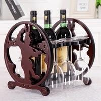 Solid wood wine frame European style wine rack Creative twelve zodiac wine rack Goblet frame