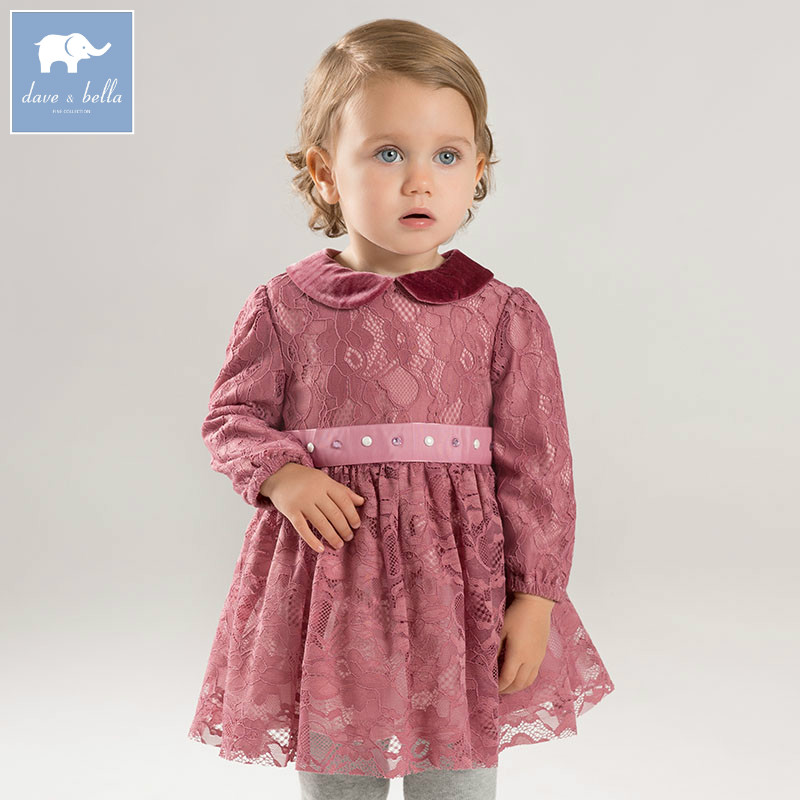 DB8505 dave bella autumn Princess baby dresses girls Tulle dress children long sleeve high quality dress batwing sleeve pocket side curved hem textured dress