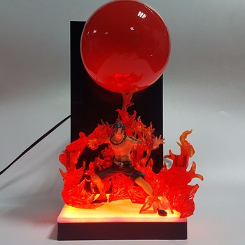 One Piece ACE PVC Action Figure 300MM DIY Anime One Piece Figurine Fire Ball Led Bulb Base Diorama One Piece Model Toy