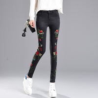 2017 Fashion Stretch Embroidery Jeans Woman High Waist Skinny Elastic Jeans Flower For Women Hip Lift Jeans Femme Up To 4XL