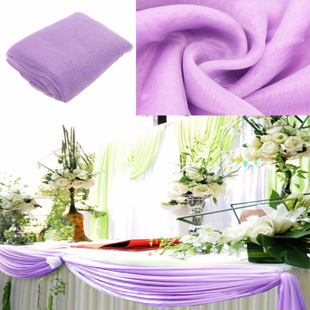 lavender 5m135m sheer organza swag diy fabric wedding christmas decoration cheap price - Discount Halloween Decor