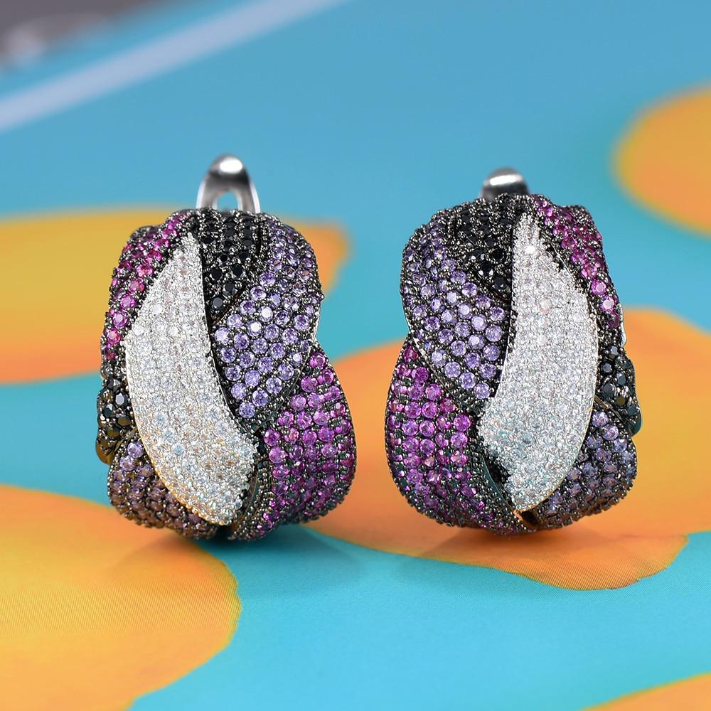 Image 3 - GODKI 25mm Luxury Twist Braided Cross Lines Colorful Full Mirco  Pink Cubic Zircon Dangle Earring For Women Wedding Bohemia HotDrop  Earrings