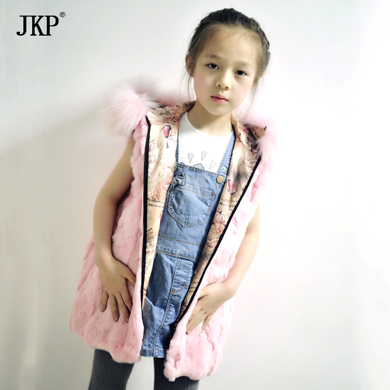 JKP 2018 Real Rex Rabbit Fur Girl Vest Fashion elegant Kid Clothes baby cotton Coats Thick Warm Outerwear free shipping MJ-04 winter kids rex rabbit fur coats children warm girls rabbit fur jackets fashion thick outerwear clothes