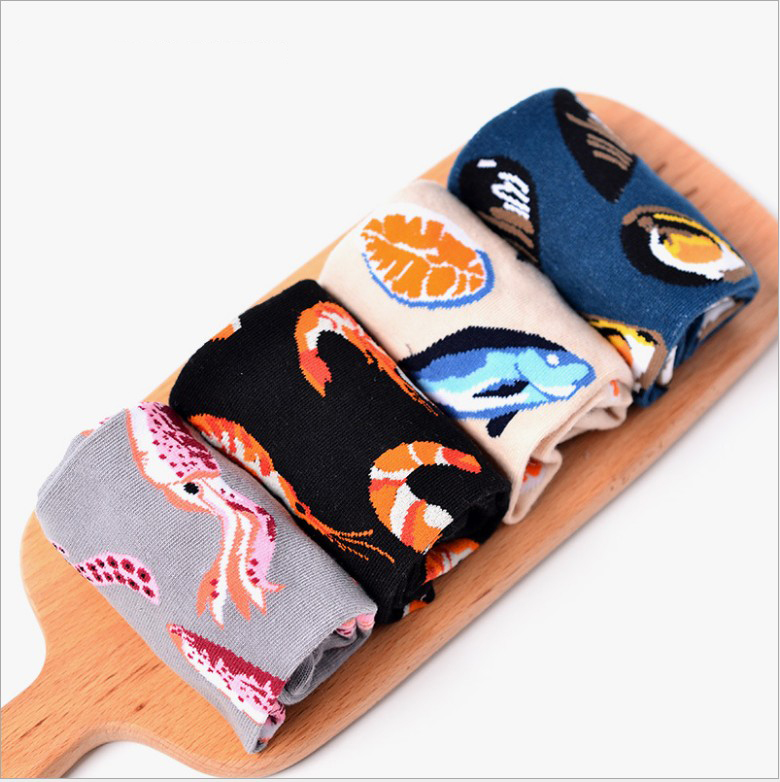 New 2018 Spring New lovers Retro sock Art Abstract Oil Painting Colored seafood fish shrim