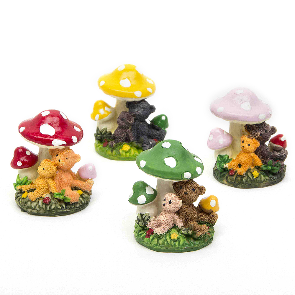 Fairy garden ornaments - Bear Mushroom Fairy Garden Miniature Accessories Terrarium Garden Ornament Miniature Plant Pots Fairy Diy Dollhouse Home