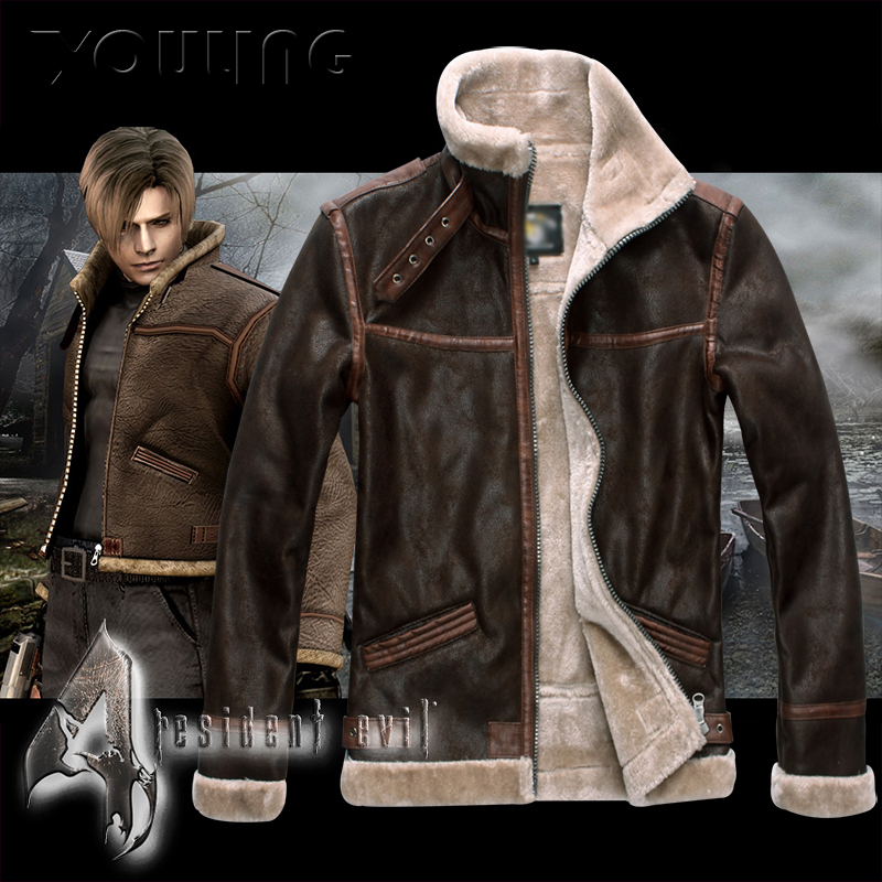 Biohazard Resident 4 Leon S Kennedy Evil Costume Leather Coat Jacket Cosplay PU Faur Jacket Long sleeve Winter Outerwear Men Boy - 5