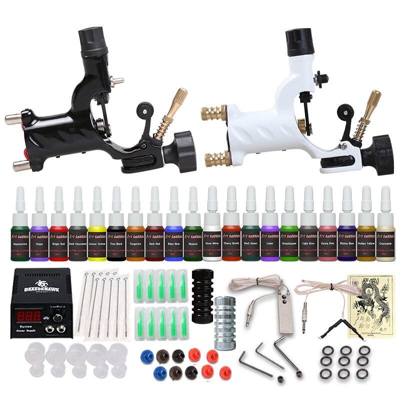 Beginner Tattoo Starter Kits 2 Rotary Tattoo Machines Guns 20 Ink ...