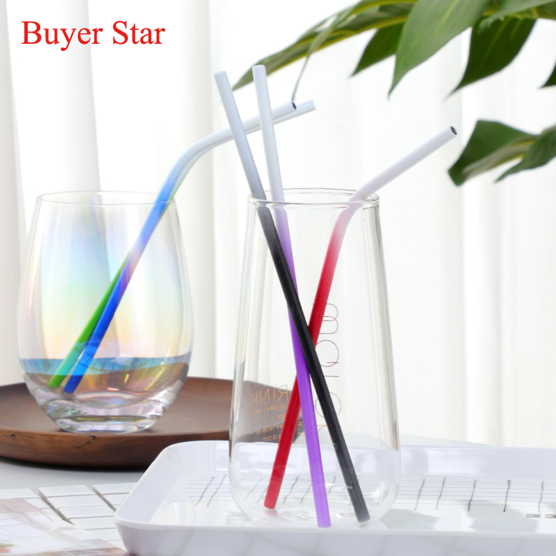 100PCS Reusable Gradient Color Drinking Straw Stainless Steel Metal Straws With Cleaner Brush Set For Home