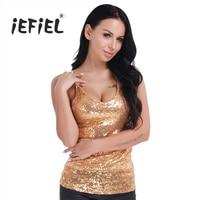 IEFiEL Gold Women Lingerie Deep V Neck Spaghetti Shoulder Straps Shiny Sequins Vest Tank Night Club