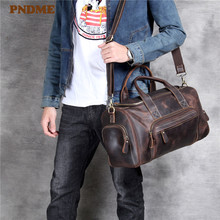 PNDME high quality crazy horse leather men's travel bag duffel bag large capacity genuine leather shoulder diagonal package