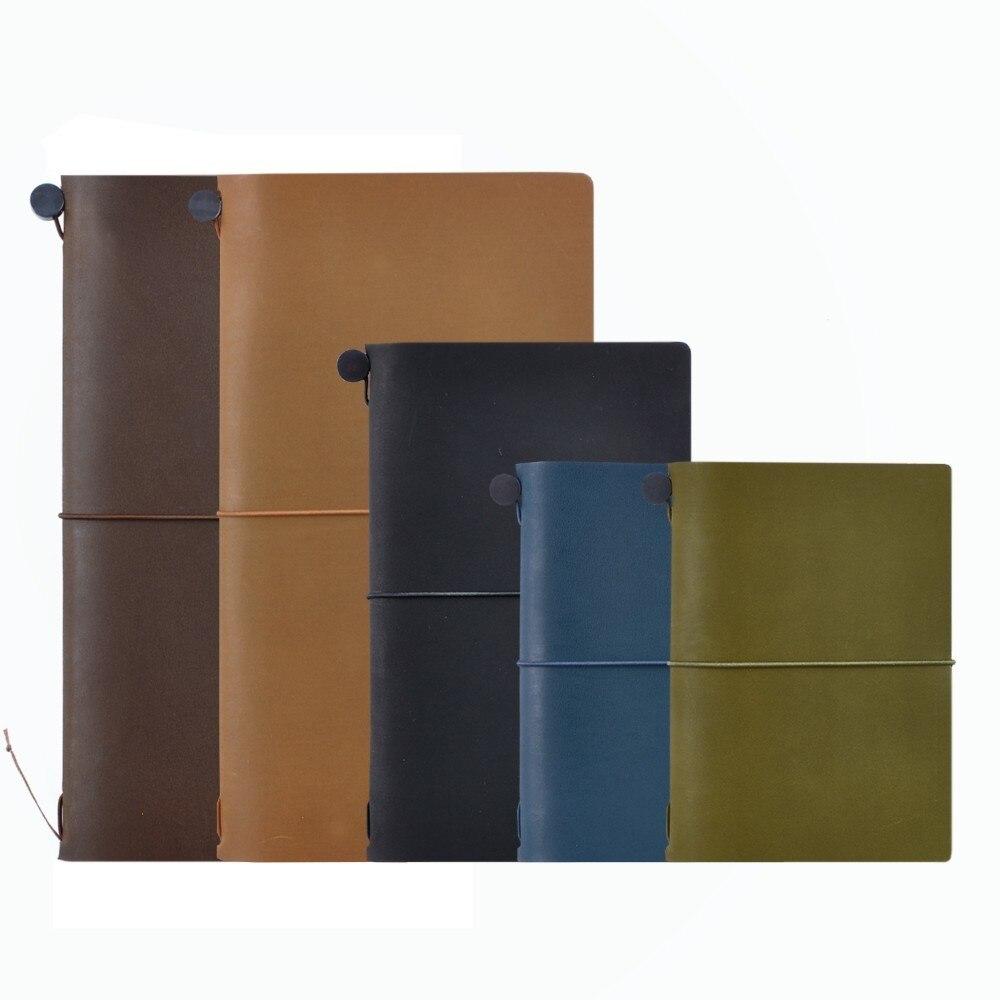 100% Véritable Ordinateur Portable En Cuir Planificateur Main Balle de Voyage Journal Olive Passeport Agenda Carnet Journal Vintage Papeterie