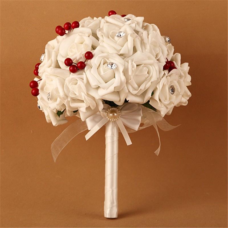 Artificial Cherry Decoration Bridesmaid Flower Wedding Bouquet Artificial Buquet de noivas Handmade Rose Crystal Bridal Bouquet  (7)