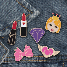 Lipstick Brooch-Pins Skirt-Accessories Girl Fashion Gifts Purple-Stone-Enamel-Pins Women