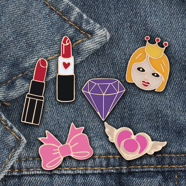 Fashion Brooch Pins Girl Cosmetics Lipstick Bow Love Wings Purple Stone Enamel Pins Skirt Accessories Women Gifts for daughter