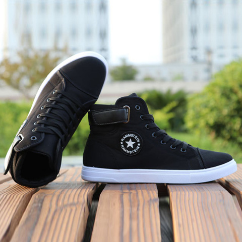 Mens High-top Canvas Shoes Men 2019 New Spring Autumn Top Fashion Sneakers Lace-up High Style Solid Colors Man Black Shoes KA853 Lahore
