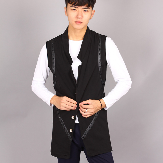 2017 Spring new arrival male medium long sleeveless cardigan slim ...