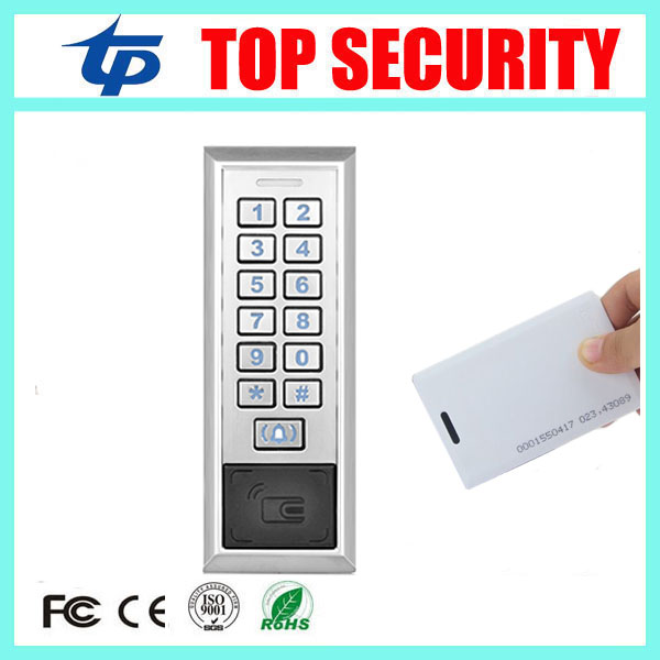 Free shipping RFID EM card door access control system 8000 users metal access control card reader standalone door opener outdoor mf 13 56mhz weigand 26 door access control rfid card reader with two led lights