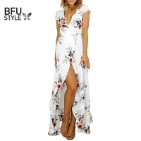 Floral Print Chiffon Maxi Dress Women V Neck Split Bohemia Beach Summer Long Dresses Vestidos Sexy