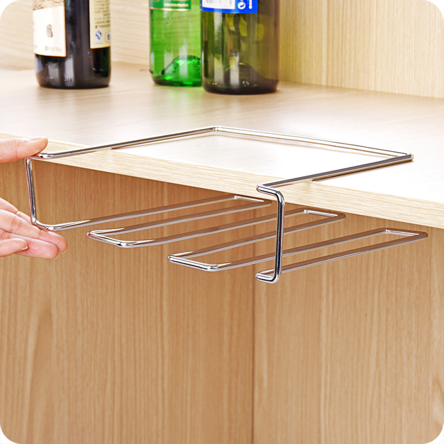 New Stainless Steel Wine Glass Holder Under Cabinet Wall Wine Rack