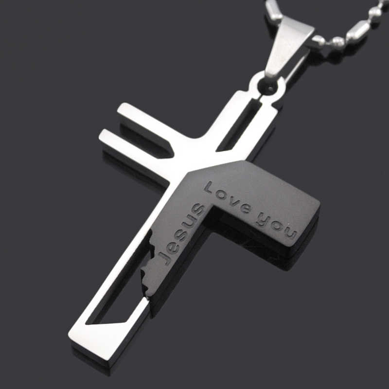 ATGO Christmas Gift Mens Jewelry Love you Jesus Cross Pendants, High Quality Women 316L Stainless Steel Pendant Necklace BP701