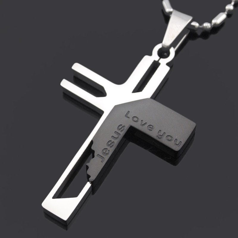 ATGO Christmas Gift Mens Jewelry Love you Jesus Cross Pendants, Collana donna in acciaio 316L 316L di alta qualità