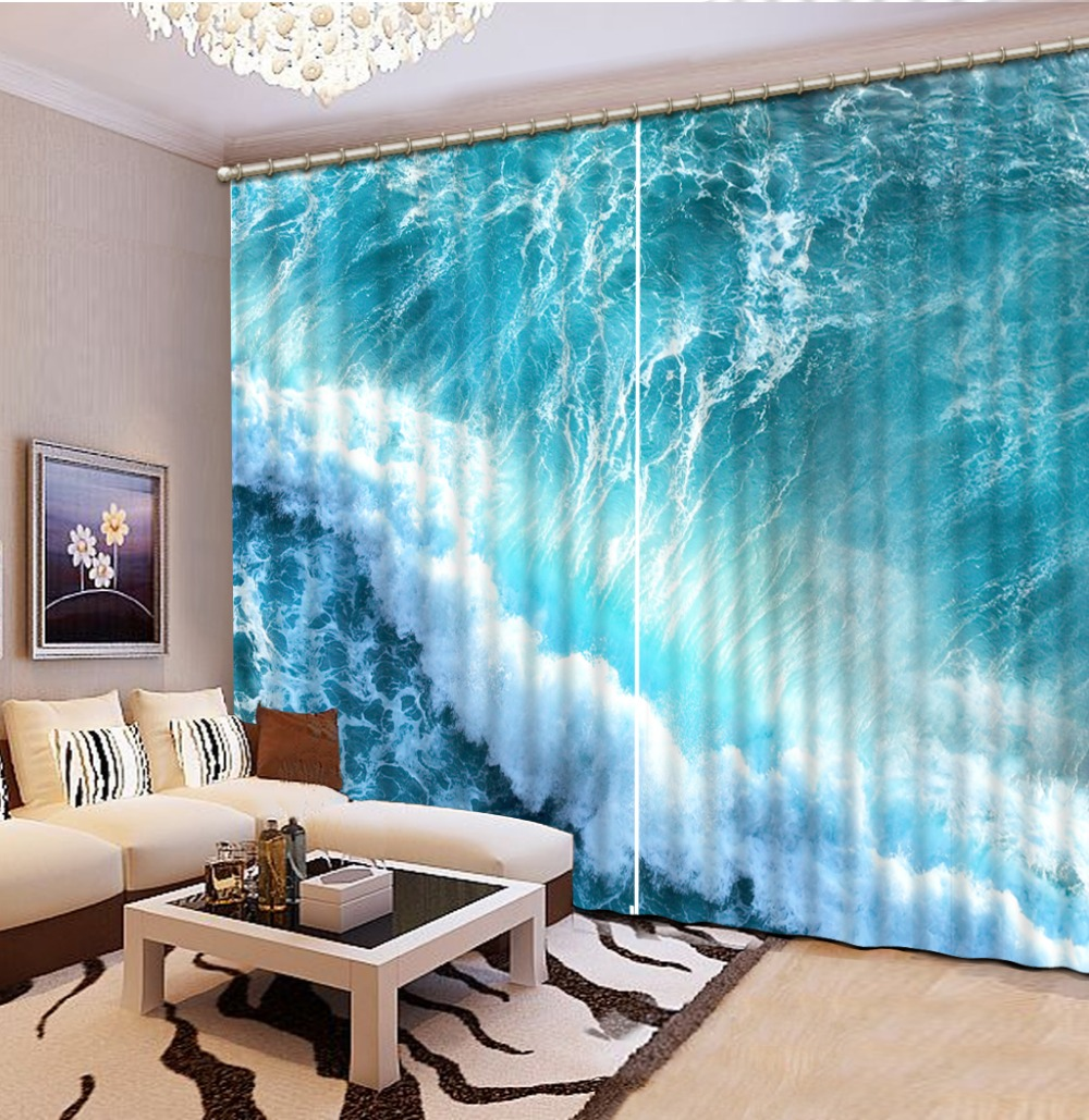 Buy europe style beach ocean 3d window for Bedrooms curtains photos