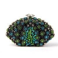 Glitter Clutch Bag Projekt dla Druhen Rhinestone Turquoise Sprzęgłowa Torba Kobiet z Łańcucha Kryształ Torebka na Wesela Hurtownie