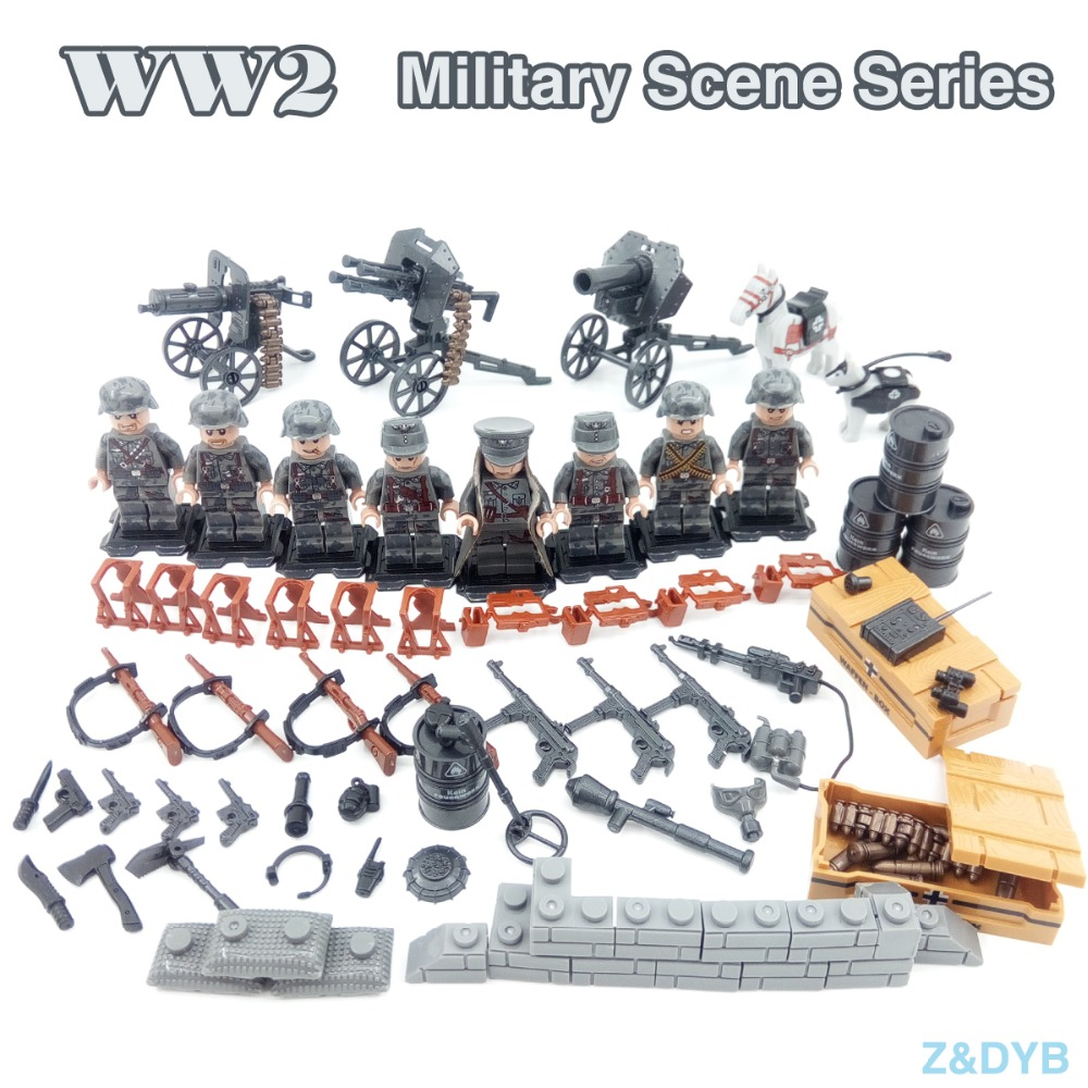 WW2 German Army Military Figures Compatible Legoed Armed Forces Soldier Weapon Educational Building Block Brick For Children Toy цена
