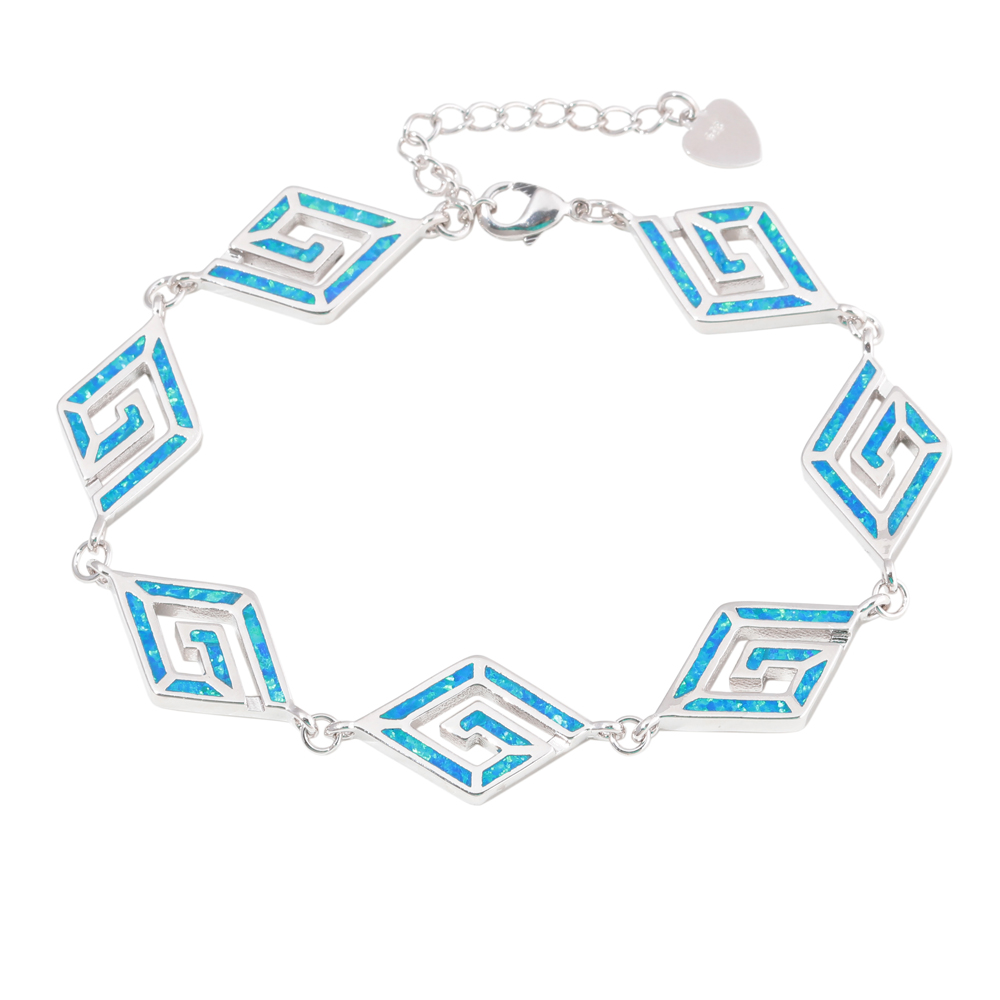CiNily 2019 Blue Fire Opal Stone Wide Bracelets & Bangles Silver Plated Rhombus Lace Chain Link Bracelet Punk Party Jewelry