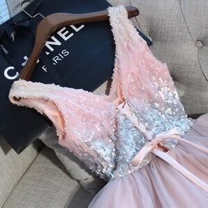 Image 4 - Robes de bal courtes marcher à côté de vous robe de bal rose gris pailleté col en v élégant soirée formelle robe de fête robe formatura curto