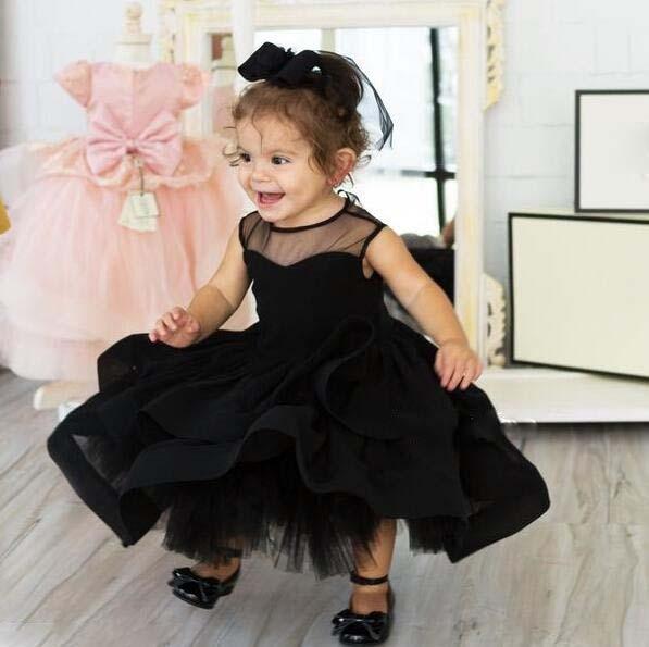 2017 New tutu black baby bridesmaid flower girl wedding dress tulle ...