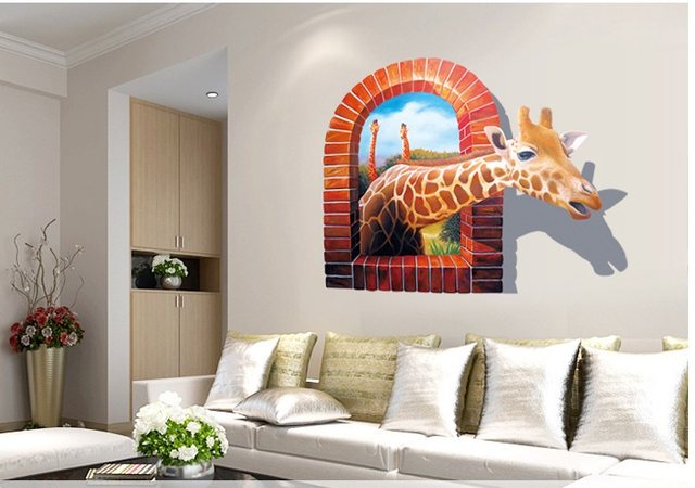 AWOO 3D Animal Giraffe Wall Decals Multicolor PVC Wall Stickers For TV Wall  Kids Bedroom Wall Home House Decoration New Design