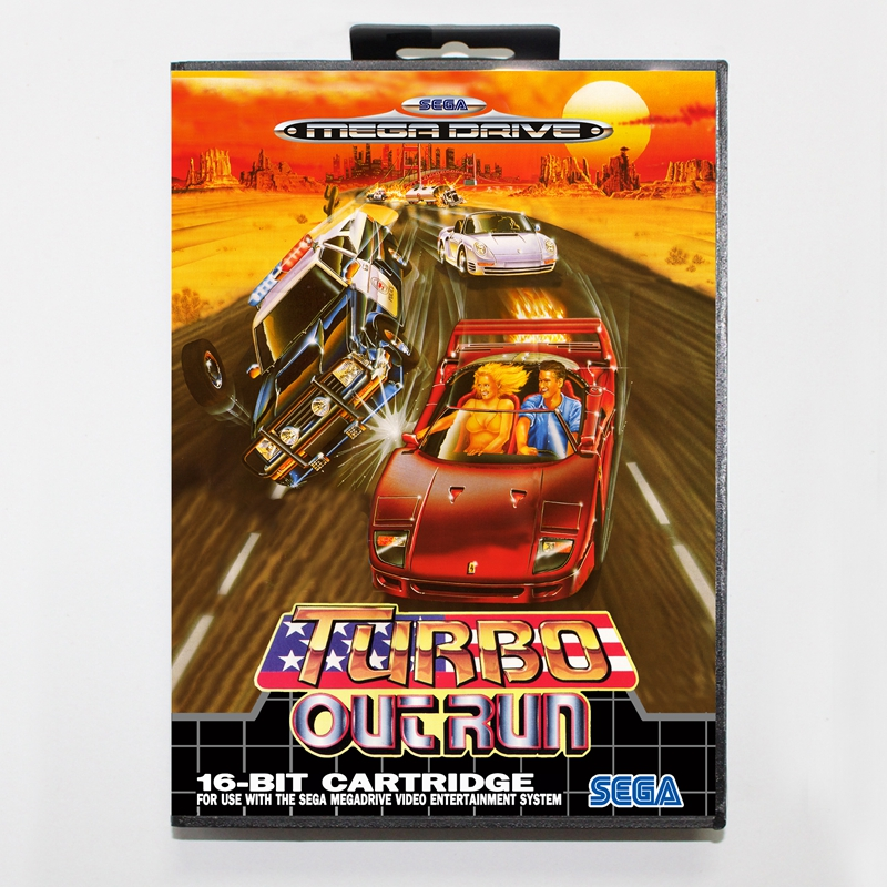 Sega MD games card - Turbo Outrun with box for Sega MegaDrive Video Game Console 16 bit MD card