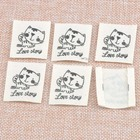 Stock clothing label tags Beige tagging labels cat with love story Clothing Shoes Bags Washable Garment Tags 32x36mm50pcs cp1529