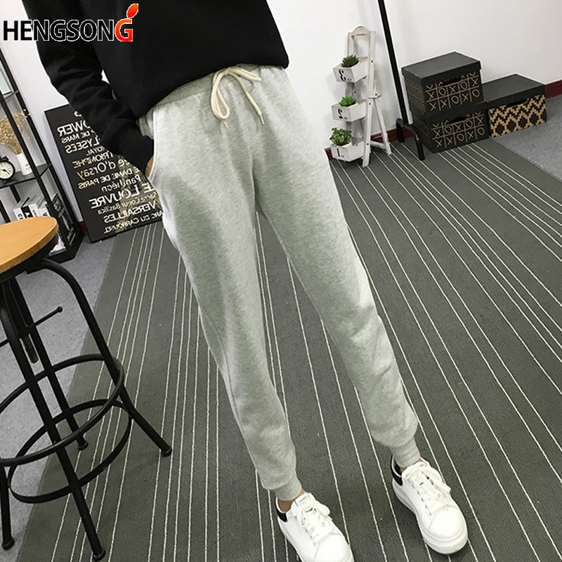 Autumn Casual Harem Pants Fitness Long Pants Female Drawstring Soft Trousers For Women OL High Waist Elastic Pant