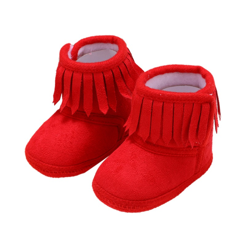Newborn Baby Winter Fringe Boots Girl Newborn Solid Color Tassel Soft Bottom New Cotton Warm Boots 0-18M