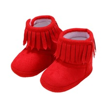 Newborn Baby Winter Fringe Boots Girl Newborn Solid Color Tassel Soft Bottom New Cotton Warm Boots 0-18M